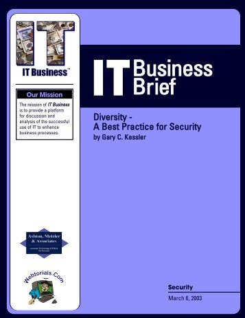 Diversity — A Best Practice for Security - GaryKessler.net