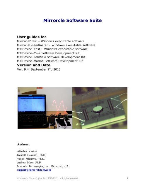 LaserDraw Manual and Users Guide - Mirrorcle Technologies, Inc