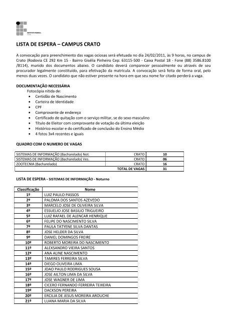LISTA DE ESPERA – CAMPUS CRATO - IFCE