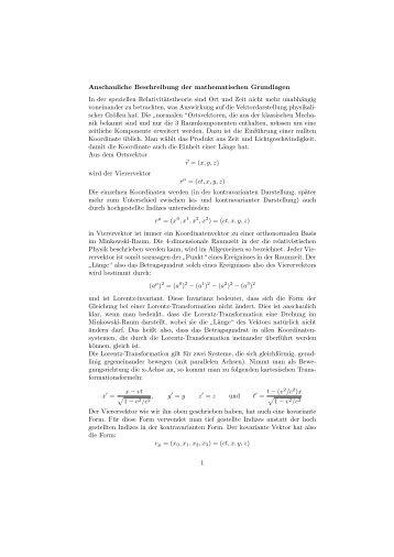Anschauliche Beschreibung der mathematischen Grundlagen In der ...
