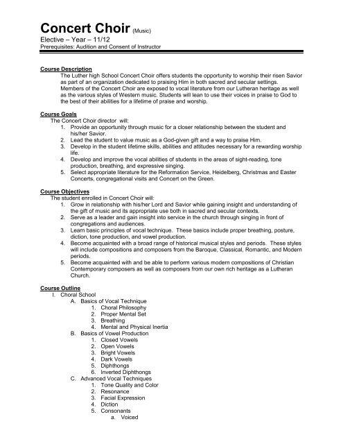 Course Syllabus - Concert Choir pdf - Luther High School