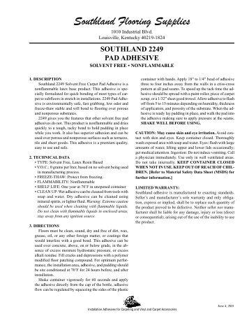 2249 (4920) Pad Adhesive TD   Southland Flooring Supplies