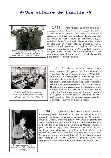Accordéons Maugein - Archives départementales Corrèze