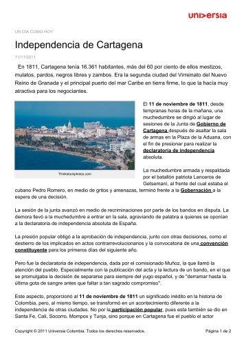 Independencia de Cartagena - Noticias - Universia