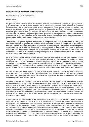PRODUCCION DE ANIMALES TRANSGENICOS G ... - Reprobiotec