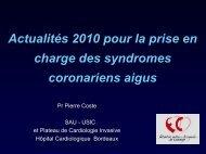 Actualités dans la gestion des syndromes coronariens aigus