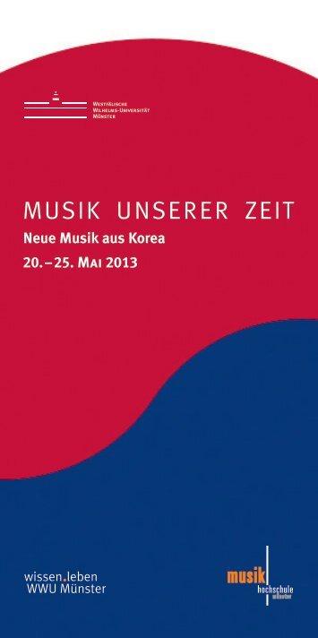 MUSIK UNSERER ZEIT - Westfälische Wilhelms-Universität Münster