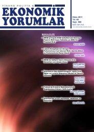 İç Kapak ve İçindekiler - Finans Politik & Ekonomik Yorumlar Dergisi
