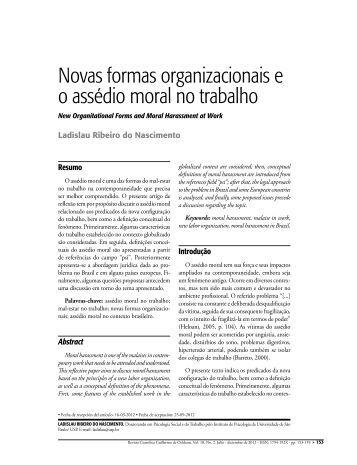 Novas formas organizacionais e o assédio moral no trabalho