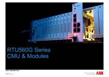 RTU560G Series RTU560G Series CMU & Modules
