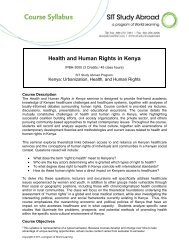 Health and Human Rights in Kenya - School for International Training