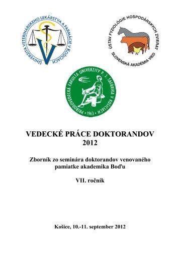 vedecké práce doktorandov 2012 - Slovenská Akadémia Vied v ...