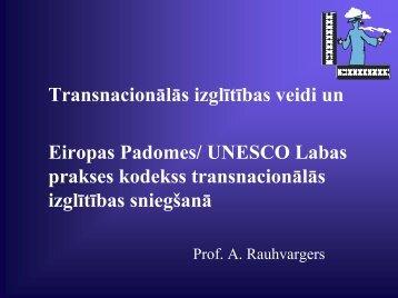 Transnacionālās izglītības veidi un EP/UNESCO Labas prakses ...