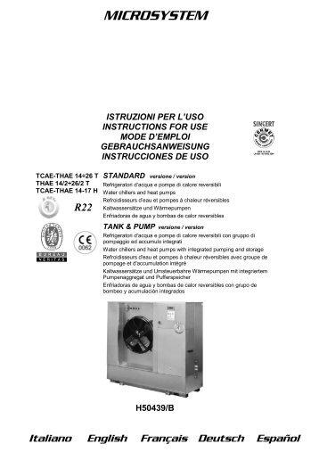H50439-vB Manuale Istruz. TCAE-THAE 14-26 - Rhoss