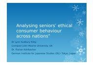 Analysing seniors' ethical consumer behaviour across ... - CMMU