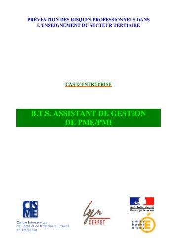 B.T.S. ASSISTANT DE GESTION DE PME/PMI - Cerpet - Ministère ...