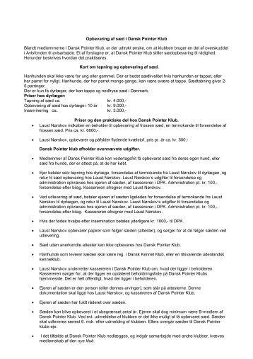 Opbevaring af sæd i Dansk Pointer Klub Blandt medlemmerne i ...