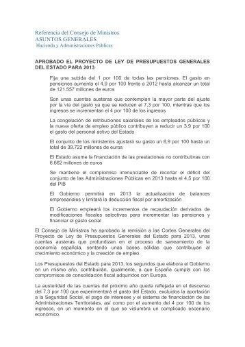 Referencia del Consejo de Ministros ASUNTOS ... - Cuarto Poder