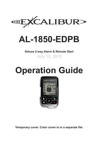AL-1850-EDPB Operation Guide - car alarm