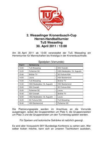 2. Wesselinger Kronenbusch-Cup Herren ... - TuS Wesseling eV