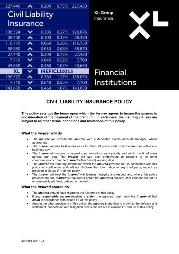 CIVIL LIABILITY INSURANCE POLICY - XL Group