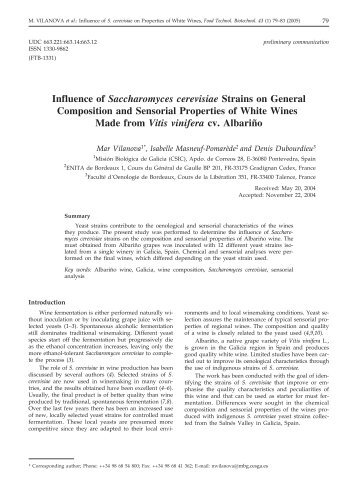 Influence of Saccharomyces cerevisiae Strains on General - Food ...