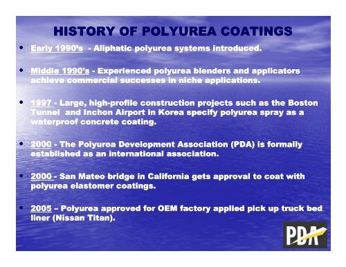HISTORY OF POLYUREA COATI