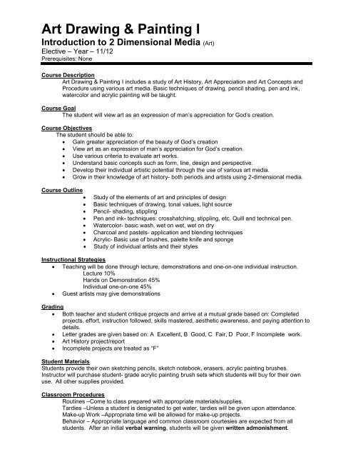 Course Syllabus - Art Drawing & Painting I pdf - Luther High School