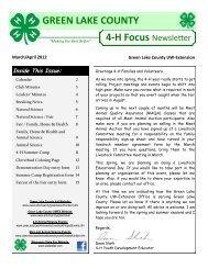 GREEN LAKE COUNTY 4-H Focus Newsletter