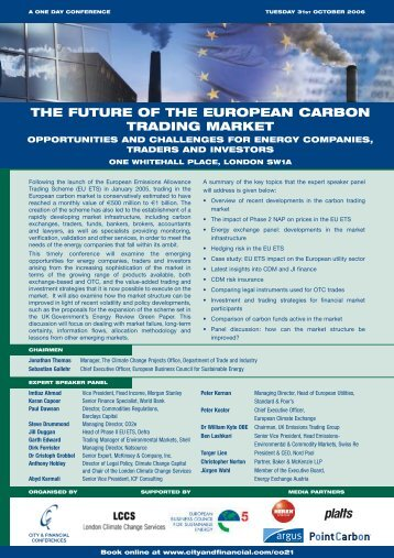 THE FUTURE OF THE EUROPEAN CARBON ... - Point Carbon