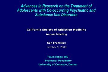 Treatment of Adolescents with Co-occurring Psychiatric and ...