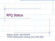 RFQ Status - titan - Triumf