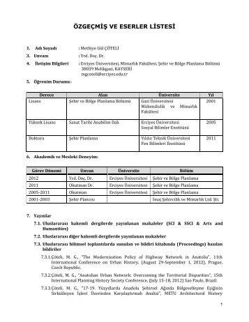 CV Göster - Mimarlık Fakültesi - Erciyes Üniversitesi
