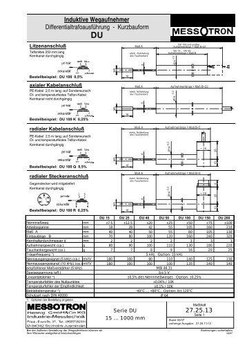 Induktive Wegaufnehmer Differentialtrafoausführung - Kurzbauform