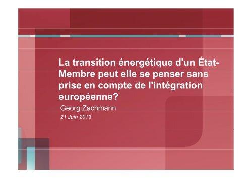 La transition énergétique d'un État- Membre peut elle se penser ...