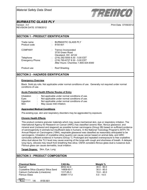 Burmastic 194 174 Glass Ply Us Msds Tremco Roofing