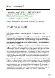 zusammenfassender Tagungsbericht - AGP