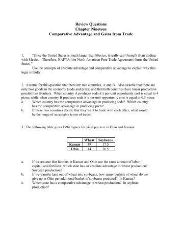 Mercantilism and Comparative Advantage (worksheet