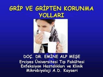 Grip ve Gripten Korunma Yolları - Erciyes Üniversitesi Tıp Fakültesi ...