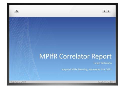 MPIfR Correlator Report - CIRA - iVEC
