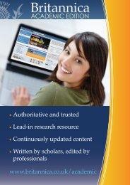 Britannica Online Academic Edition leaflet - Encyclopædia ...