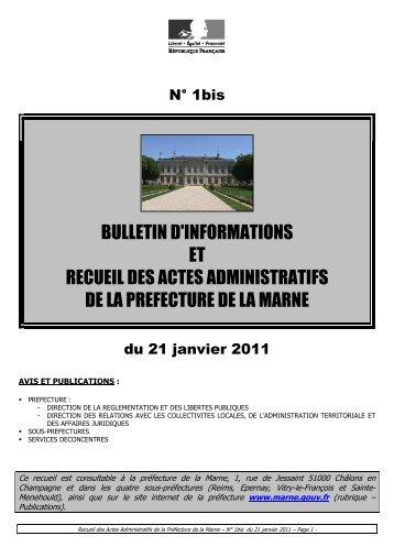 Recueil 1bis-2011 du 21 janvier - 19,43 Mb - Préfecture de la Marne