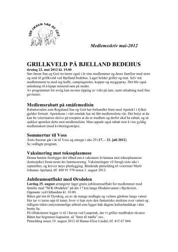 Last ned infobrevet fra 16. mai 2012 her - Norsk Sau og Geit