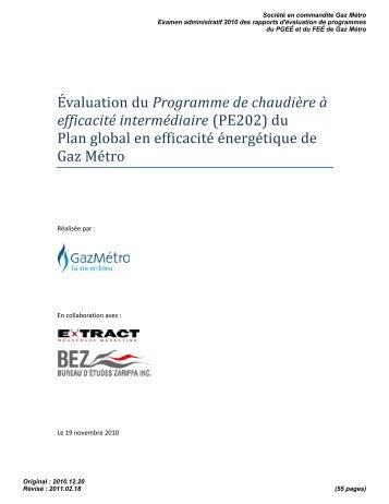PE202 - Régie de l'énergie