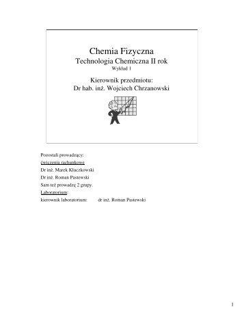 Slajdy z notatkami - Katedra Chemii Fizycznej