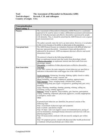 The Assessment of Discomfort in Dementia (ADD)