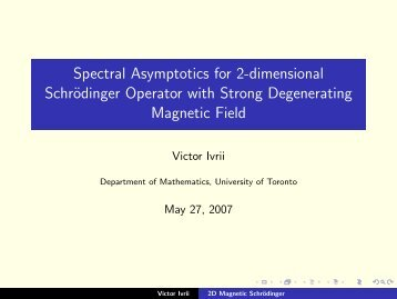 Spectral Asymptotics for 2-dimensional Schrödinger Operator with ...
