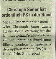 Christoph Saner hat ordentlich PS in der Hand