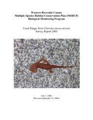 Coast Range Newt Survey Report 2005 - Western Riverside County ...