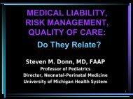 MEDICAL LIABILITY RISK MANAGEMENT QUALITY OF ... - Enfamil
